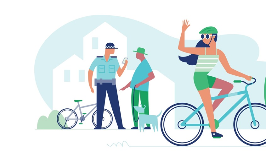 Cartoon graphic of woman riding bicycle and waving to a police officer who is talking to a man in the background.