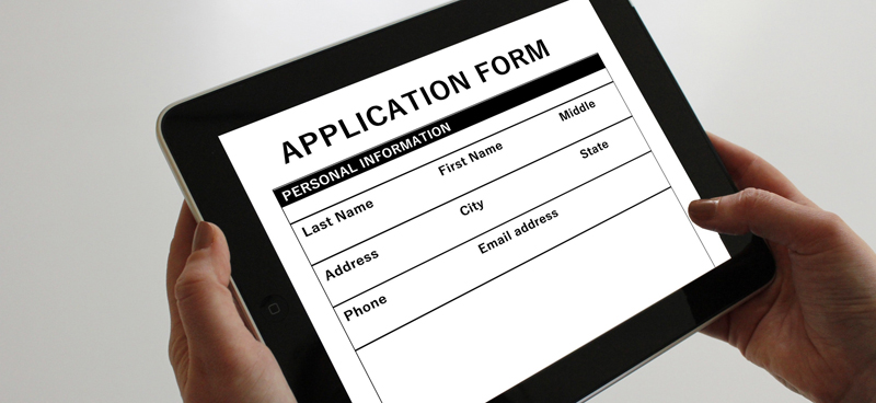 Application form on tablet example