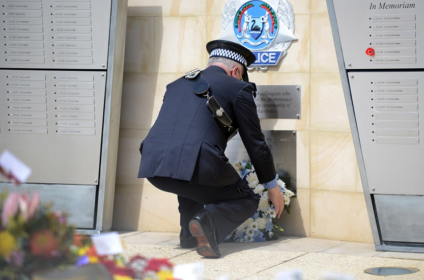 Commissioner of Police Chris Dawson at WA Police Force memorial.