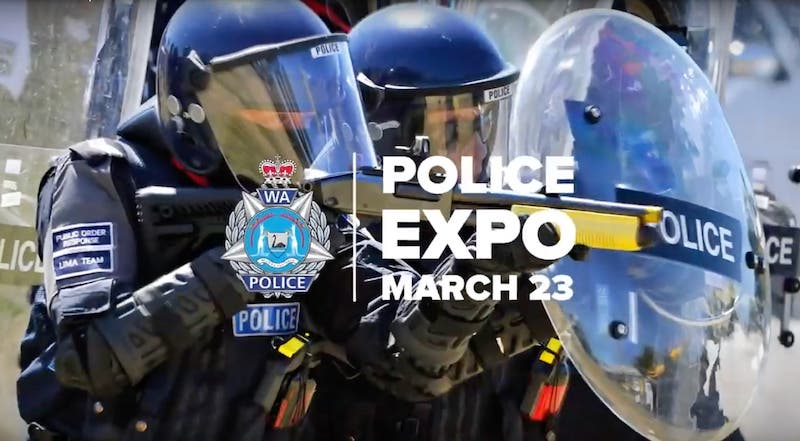 WA Police Force Expo promotional image of officers with shields and 'Police Expo March 23'