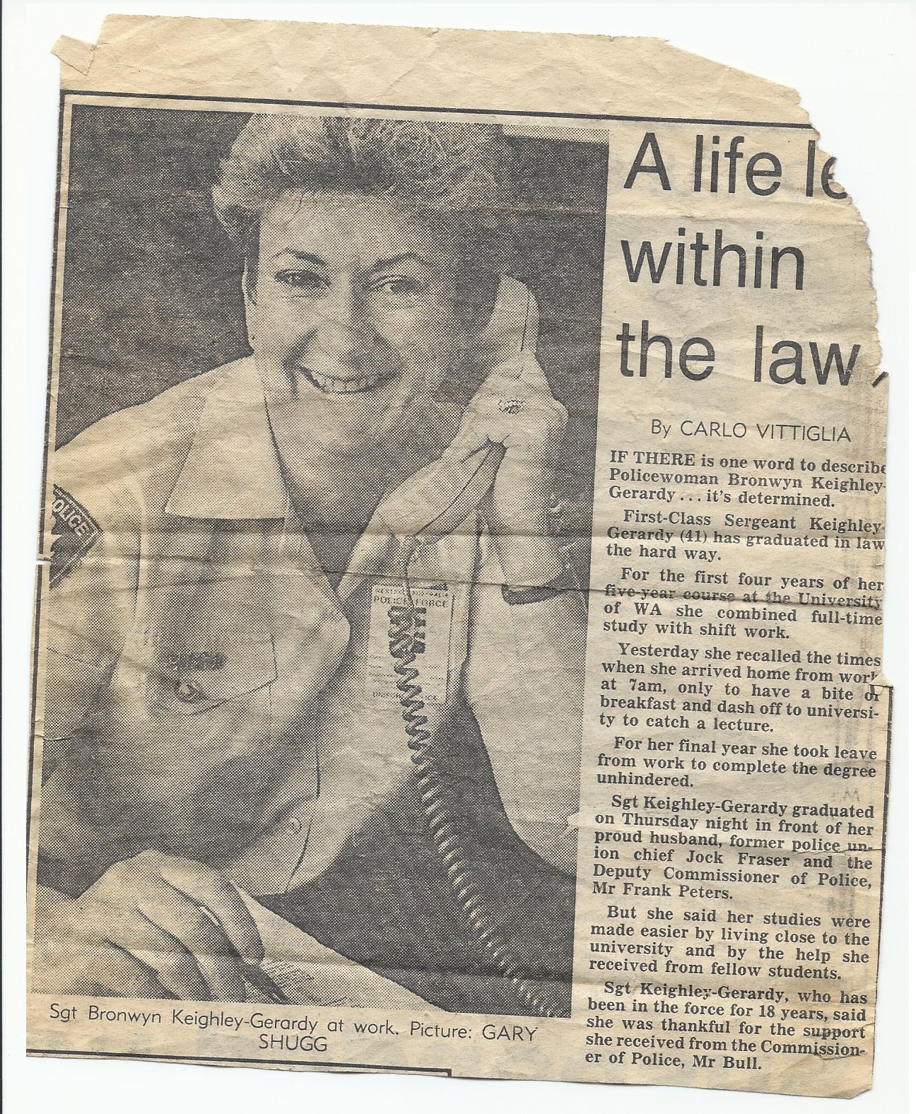 KEIGHLEY-GERARDY Bronwyn 1987 news article