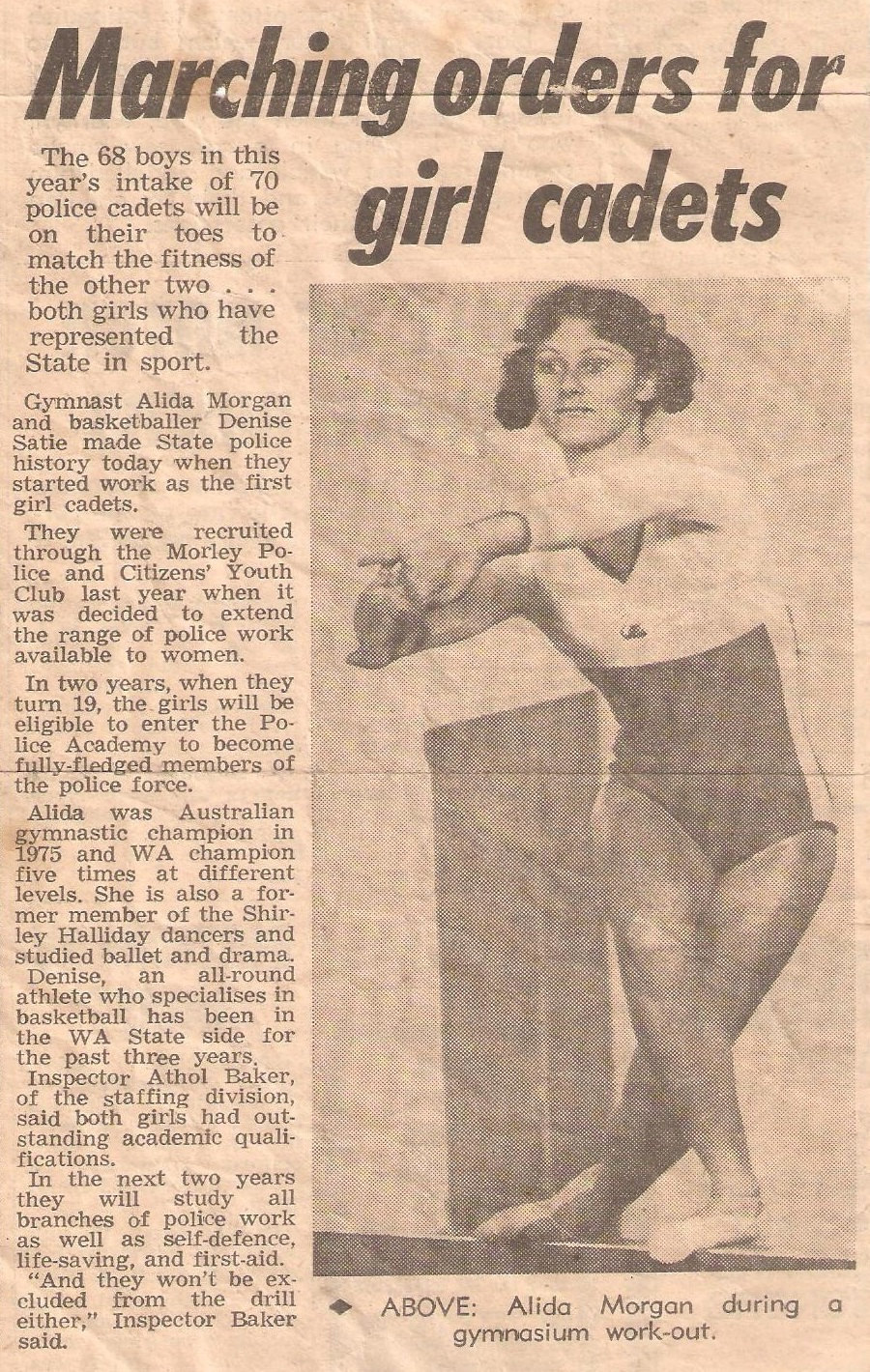 Alida SCOTT - 1977 article on first female cadets