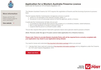 Application for a Western Australia Firearms Licence