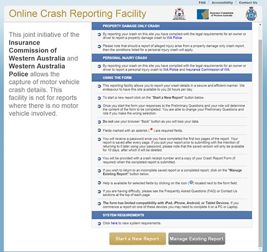 Preview of the WA Government online crash reporting site