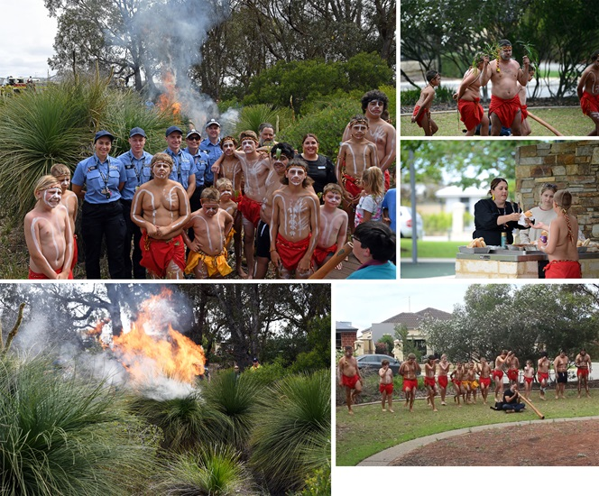 Various images of police cadets and a youth Aboriginal Boys group